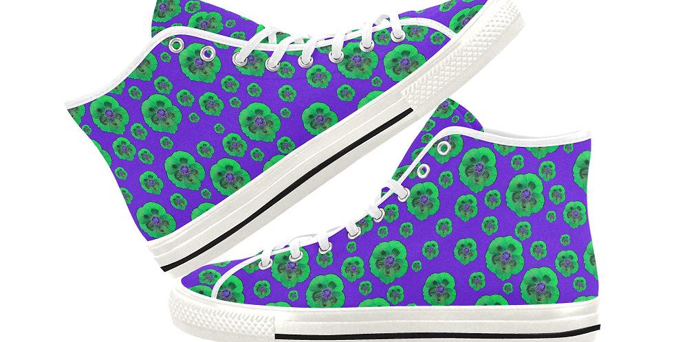 Poppies Purple/Green - Women's High Top Canvas Sneakers