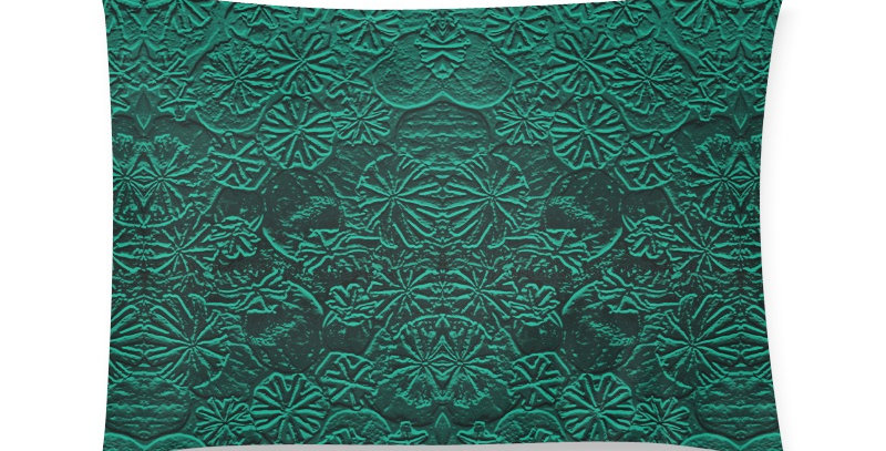 Embossed Poppies Emerald - Cushion Cover