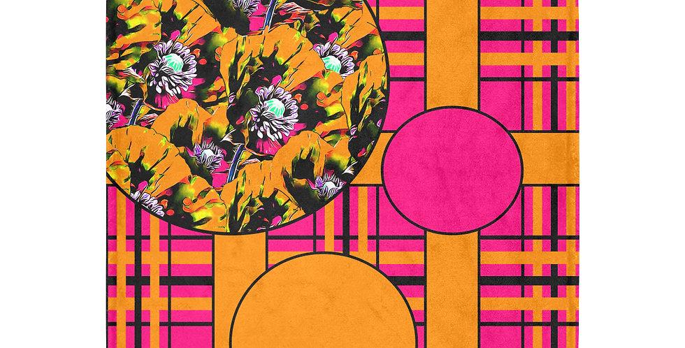 Tartan Poppies - Orange/Pink - Blanket