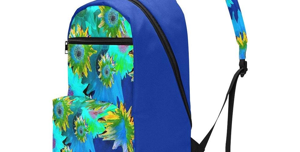 Strawflower Sizzle - Blue/Yellow - Travel Backpack (Large Capacity)