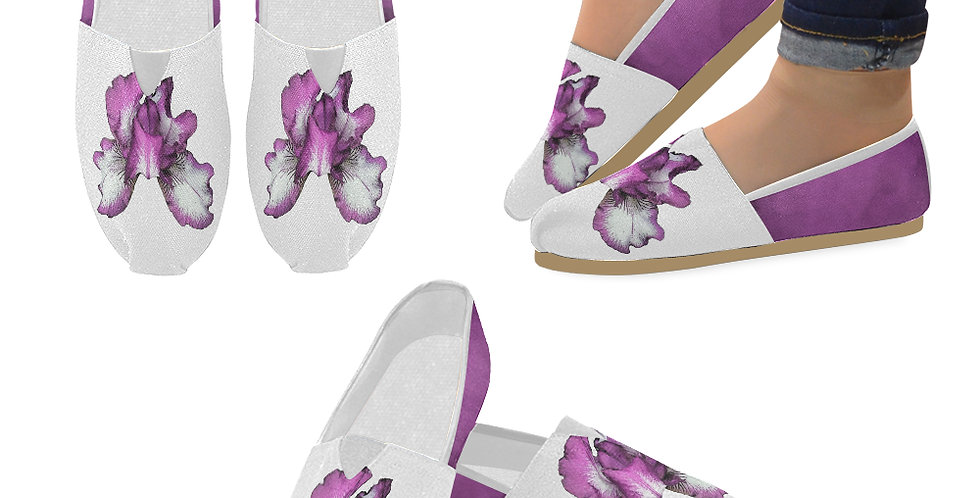 Bearded Iris Pink - Slip On Canvas Shoes