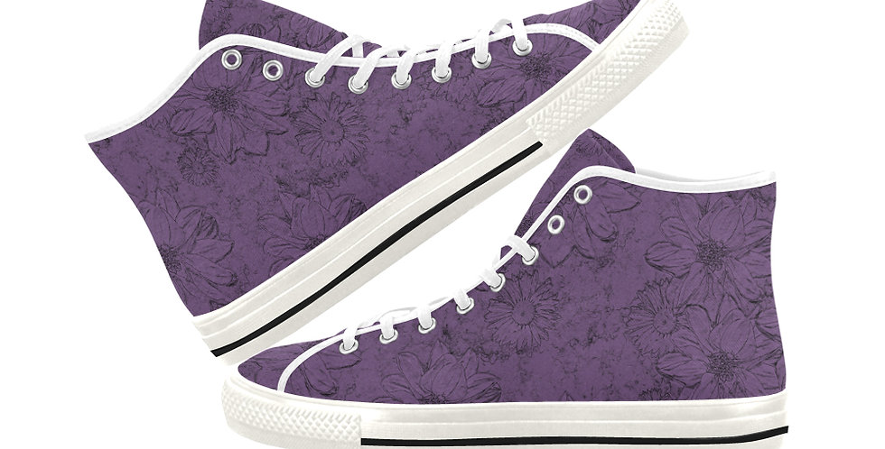 Embossed Floral Purple - Women's High Top Canvas Sneakers