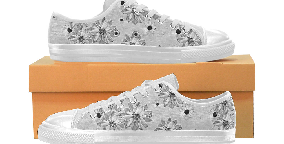 Floral Grey - Women's Canvas Sneakers