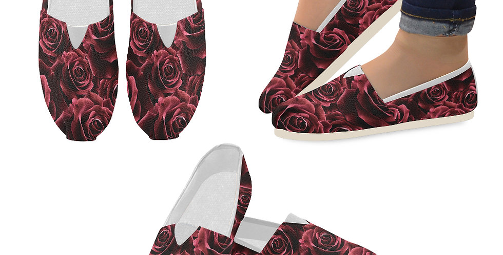Velvet Roses Red - Slip On Canvas Shoes