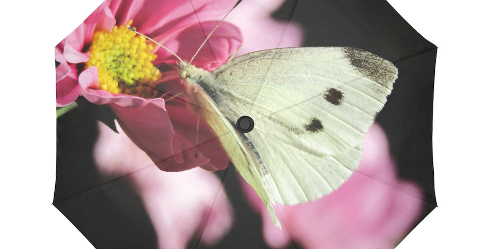 White Butterflies - Botanical Umbrella