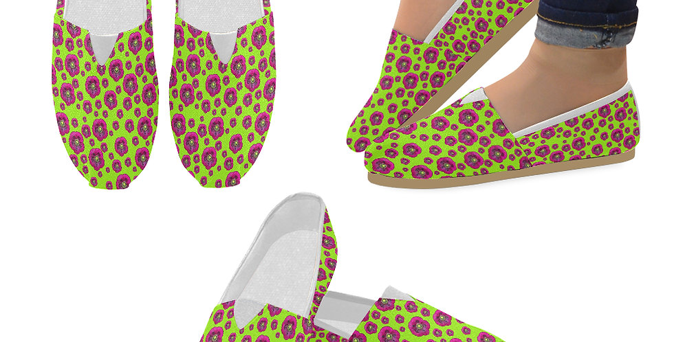Poppies Lime Green/Purple - Slip On Canvas Shoes
