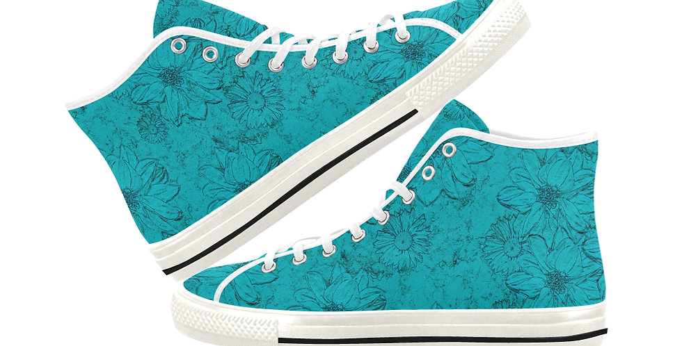 Embossed Floral Blue - Women's High Top Canvas Sneakers
