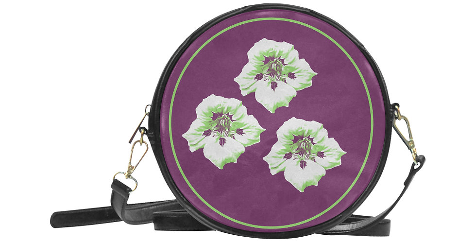 Purple Nasturtium - Round Messenger Bag