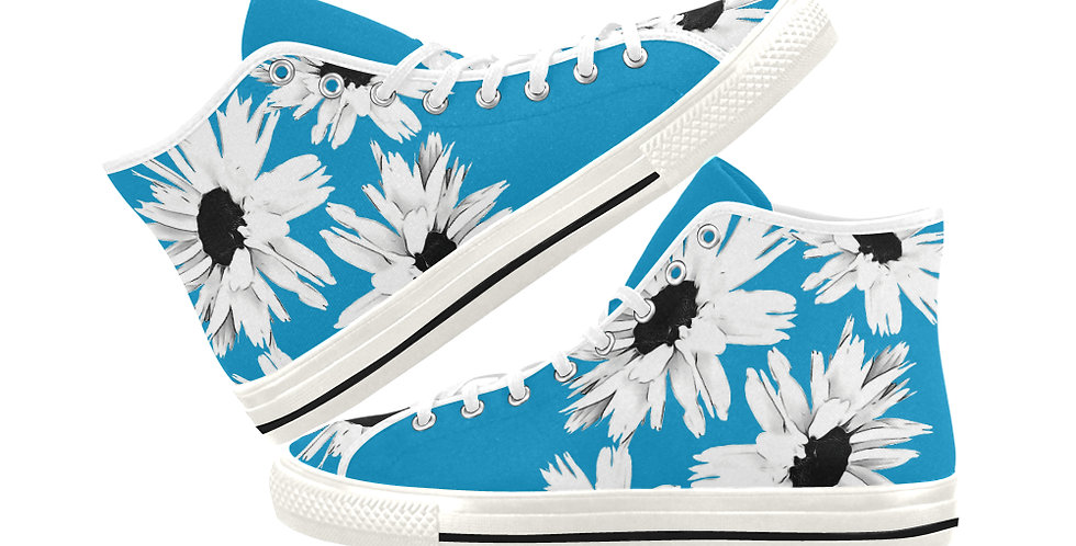 Bunch of Daisies Blue - Women's High Top Canvas Sneakers