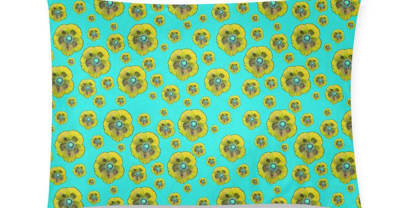 Flower Power aqua/yellow - Cushion Cover