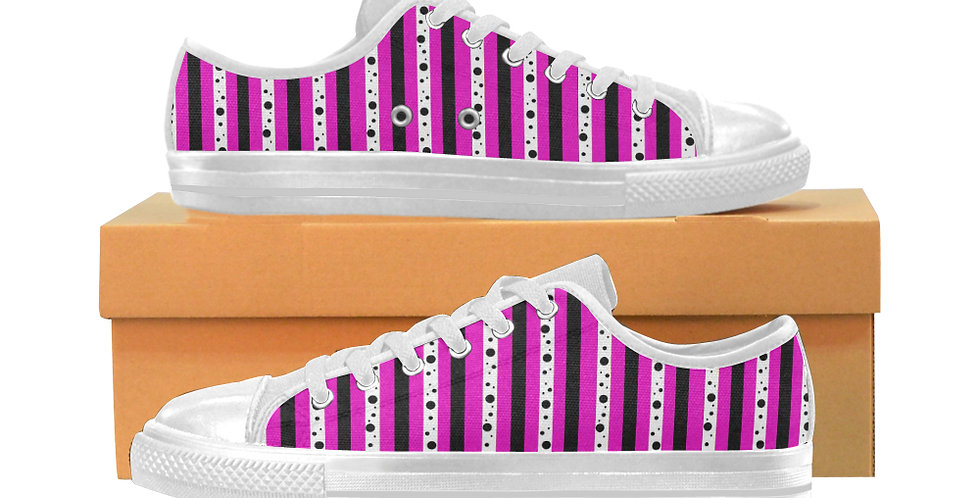 Sweet Pea Passion Stripes - Women's Canvas Sneakers