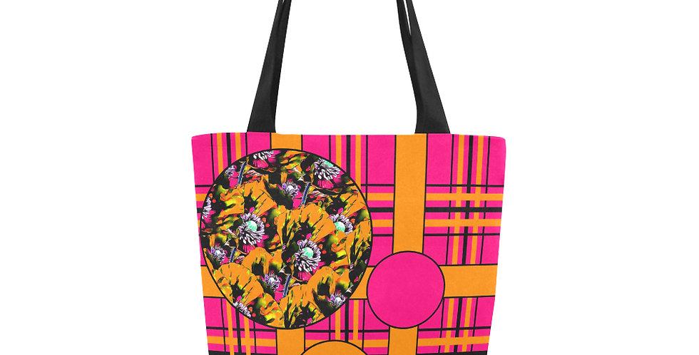 Tartan & Poppies - Orange & Pink - Pattern - Tote Bag