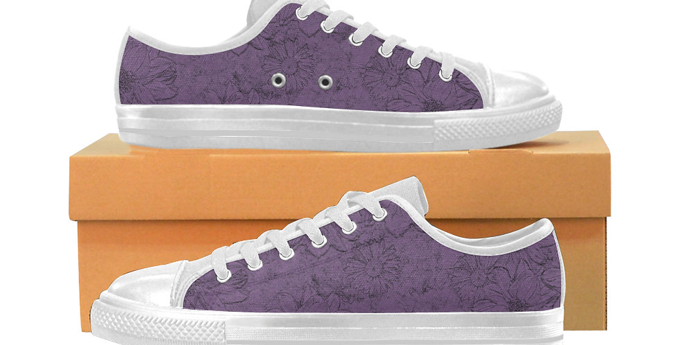 Embossed Floral Purple - Women's Canvas Sneakers
