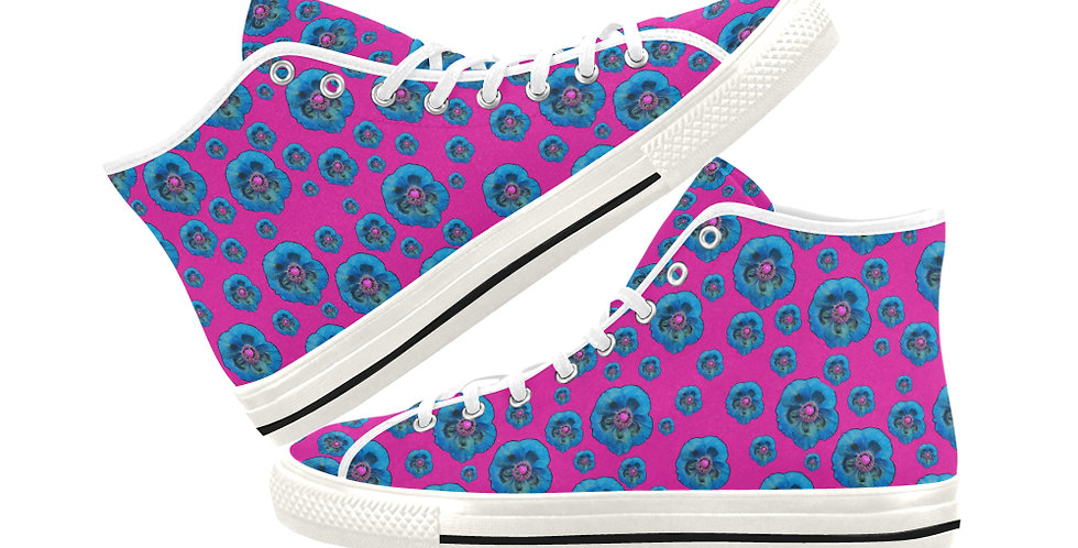 Poppies Pink/Blue - Women's High Top Canvas Sneakers