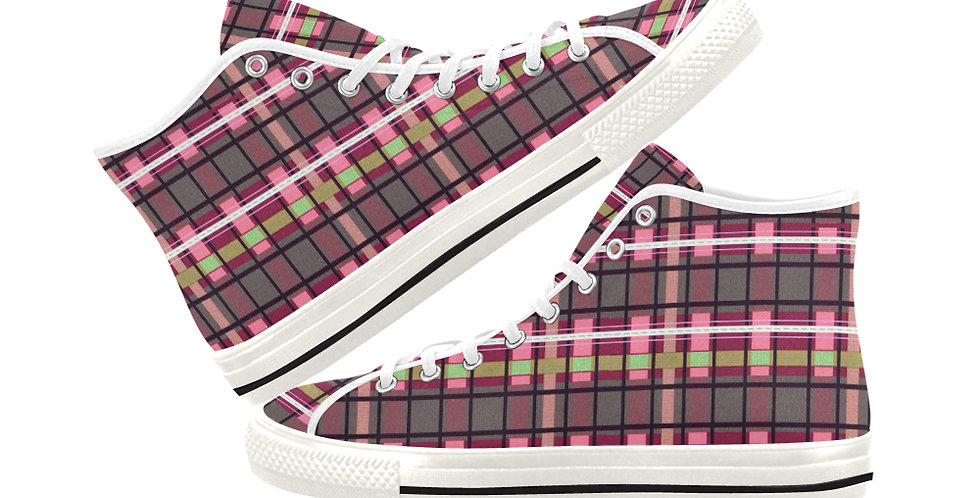 Tartan Terror - Red/Pink - Women's High Top Canvas Sneakers