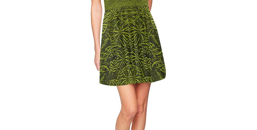 Embossed Poppies Olive Green - Skater Dress