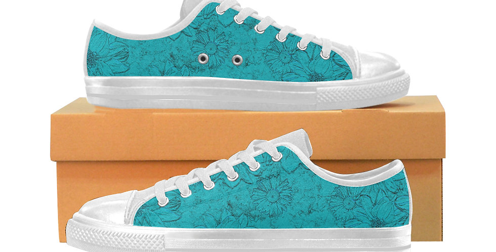 Embossed Floral Blue - Women's Canvas Sneakers