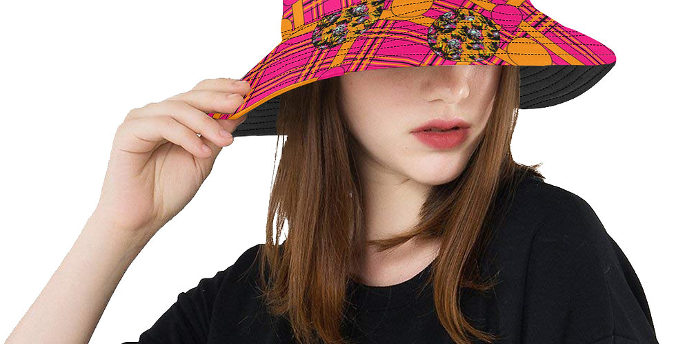 Tartan & Poppies - Orange & Pink - Pattern- Bucket Hat