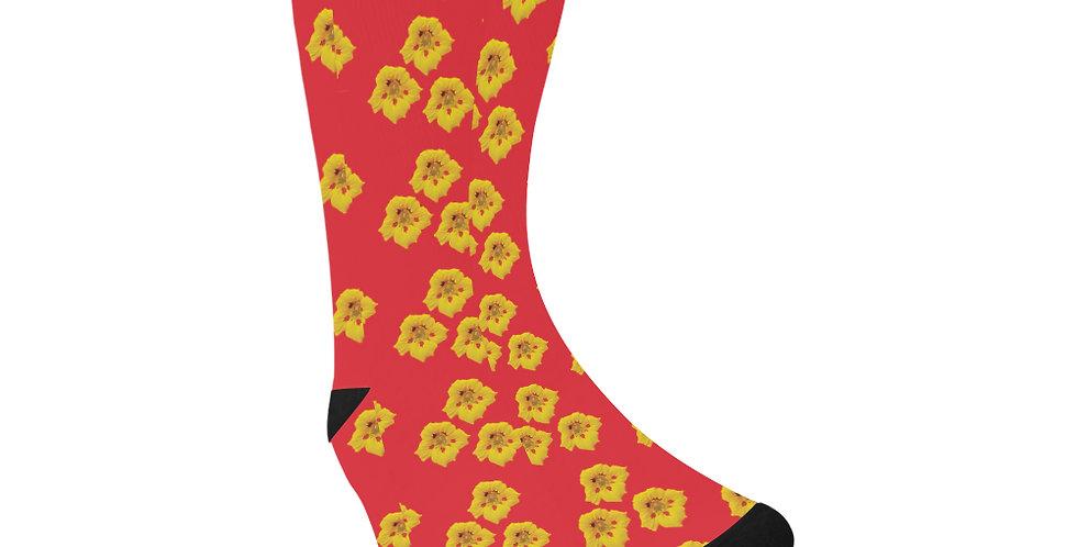 Ladybug Nasturtium -  Unisex Socks (Made in Australia)