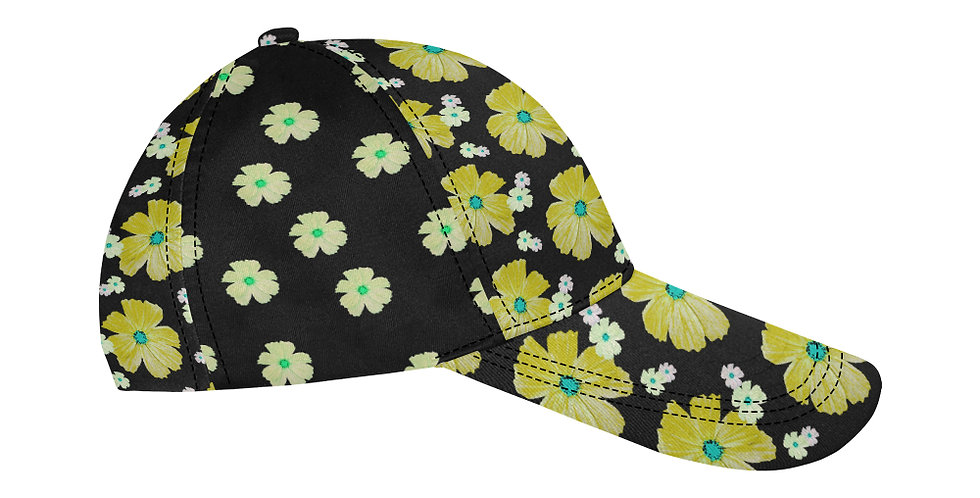 Cosmo Chaos Yellow (small flowers panel) - Baseball Cap