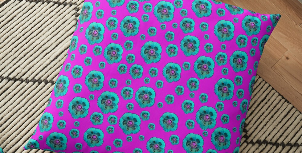 Flower Power - Hot Pink / Blue - Cushion Cover