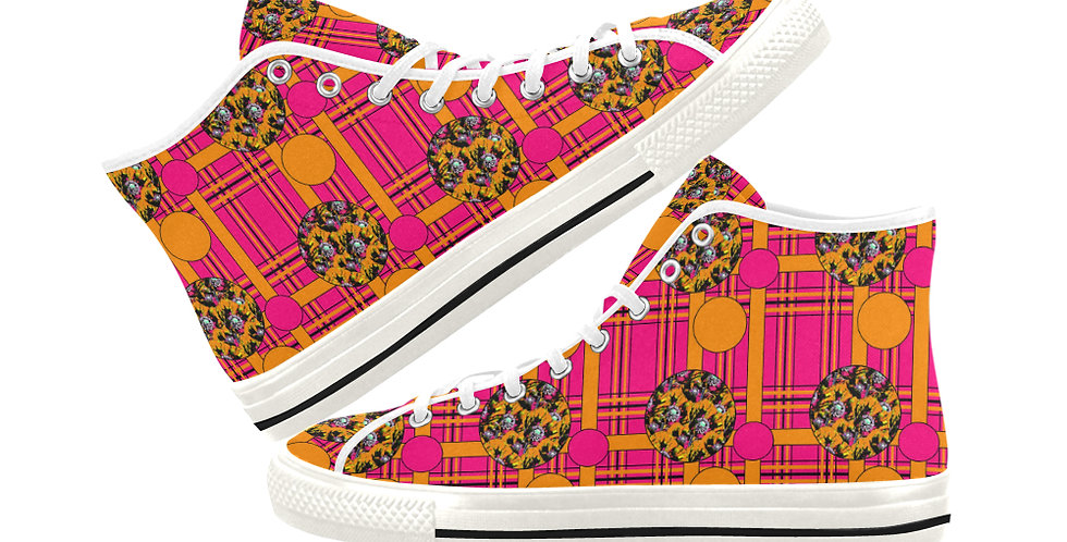 Tartan & Poppies - Orange & Pink - Pattern - Women's High Top Canvas Sneakers