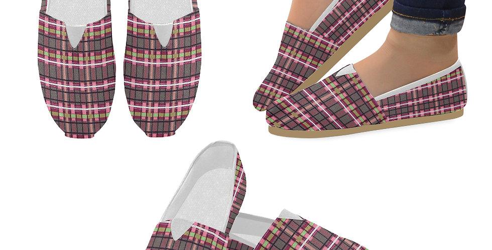 Tartan Terror Red/Pink - Slip On Canvas Shoes