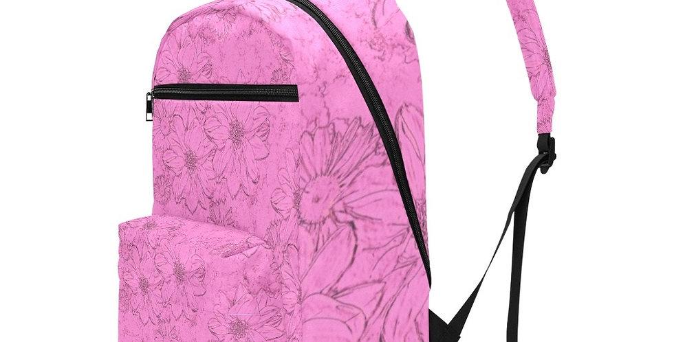 Embossed Flowers Pink - Travel Backpack (Large Capacity)