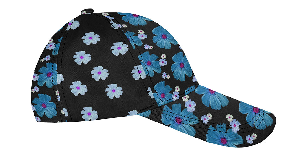 Cosmo Chaos Blue (small flowers panel) - Baseball Cap