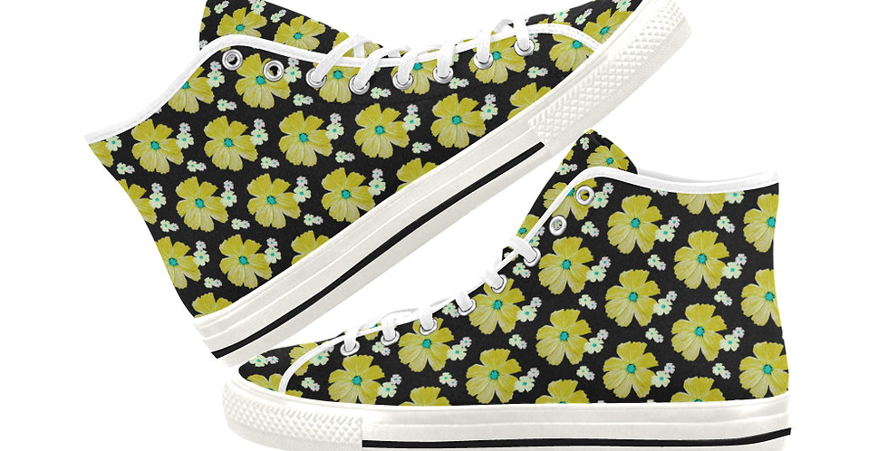 Cosmos Chaos - Lemon Sherbet - Women's High Top Canvas Sneakers