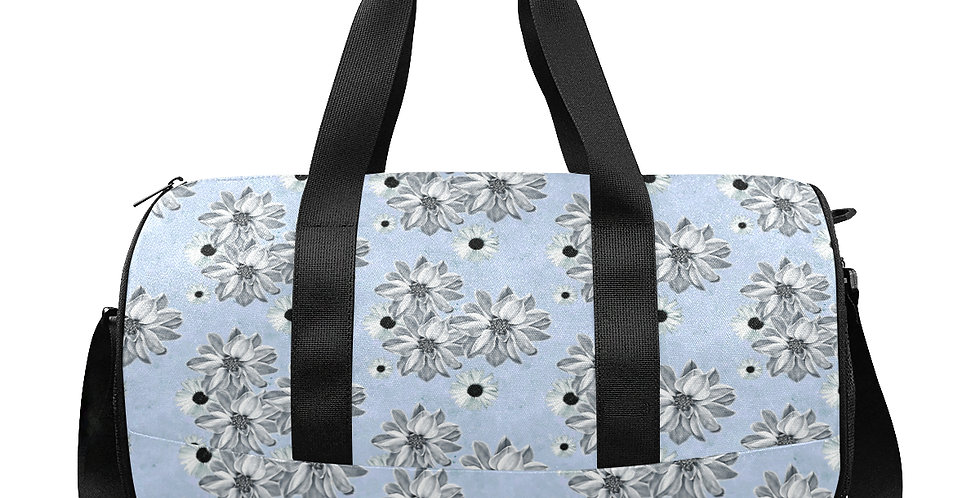Floral Soft Blue - Gym / Workout / Camping / Travel Duffel Bag