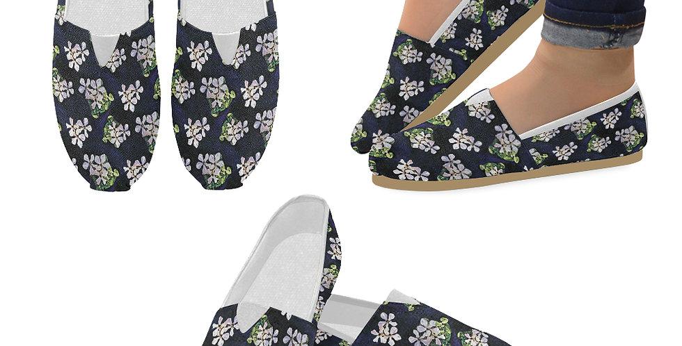 Cyclamen Swirl (small print) - Slip On Canvas Shoes