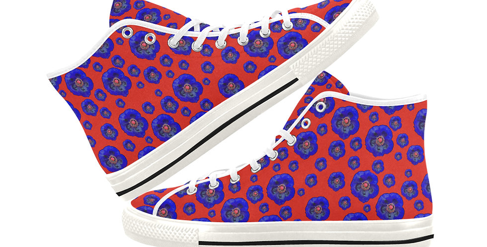 Poppies Red/Blue - Women's High Top Canvas Sneakers