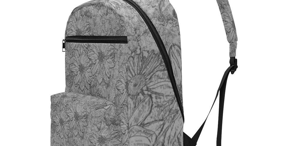 Embossed Flowers Grey - Travel Backpack (Large Capacity)