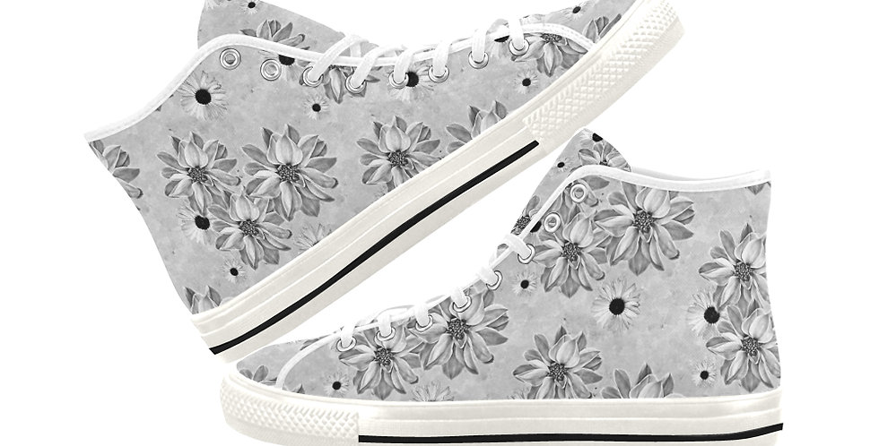 Floral Grey - Women's High Top Canvas Sneakers
