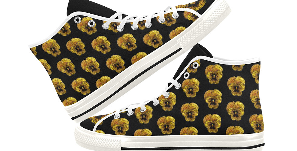 Pansy Tiger - Women's High Top Canvas Sneakers