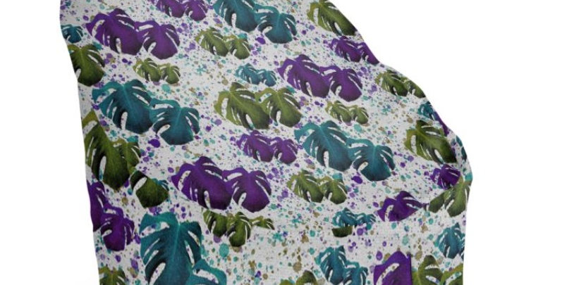 Monstera Leaves Purple/Teal - Bean Bag Cover