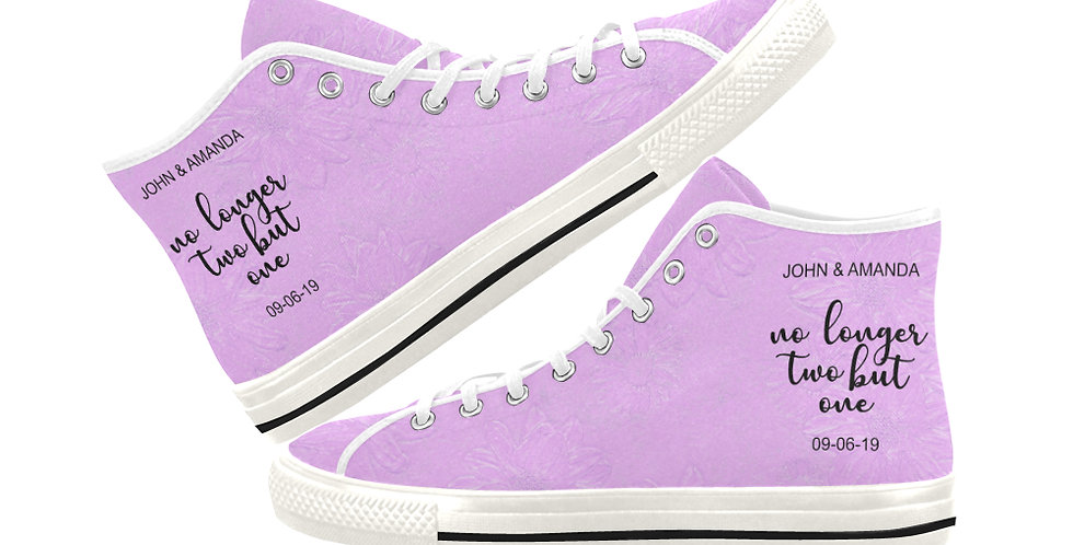 Pink Daisy - Women's High Top Canvas Sneakers