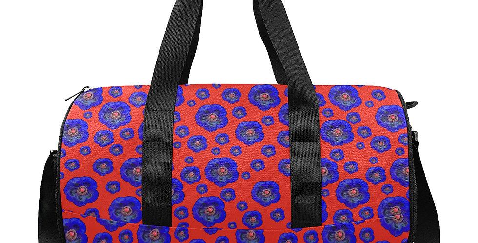 Flower Power Red/Blue - Workout/Camping/Travel Duffel Bag