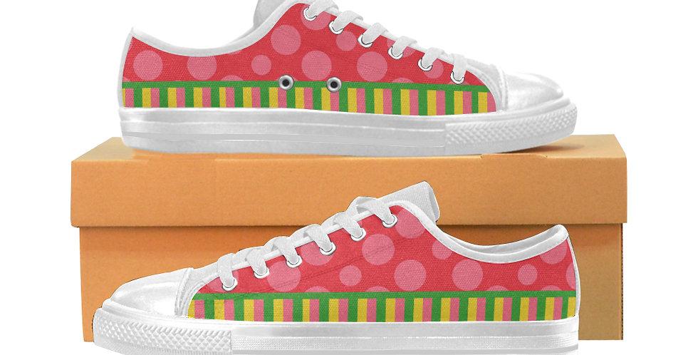 Dots & Stripes - Women's Canvas Sneakers