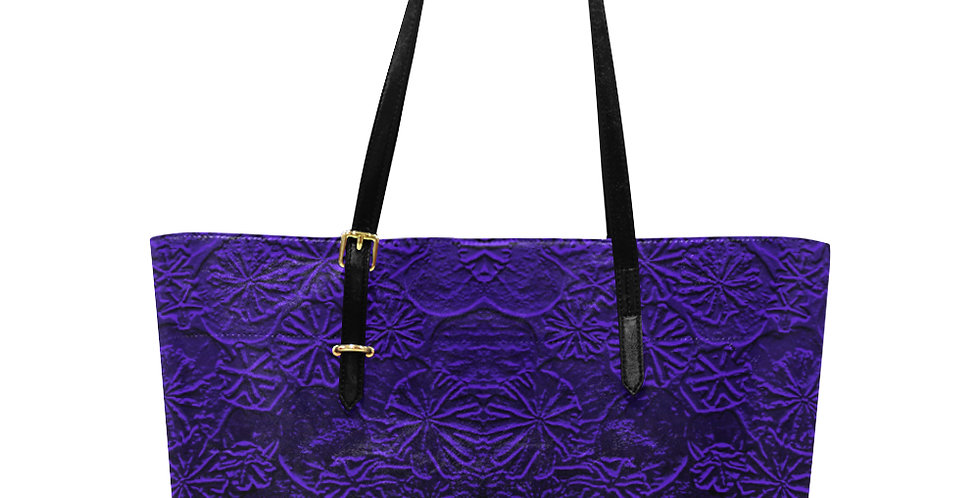 Embossed Poppies Sapphire Blue - Large Tote Bag