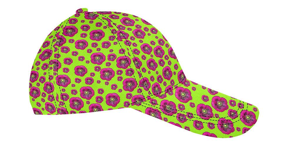 Flower Power Lime Green/Purple - Baseball Cap