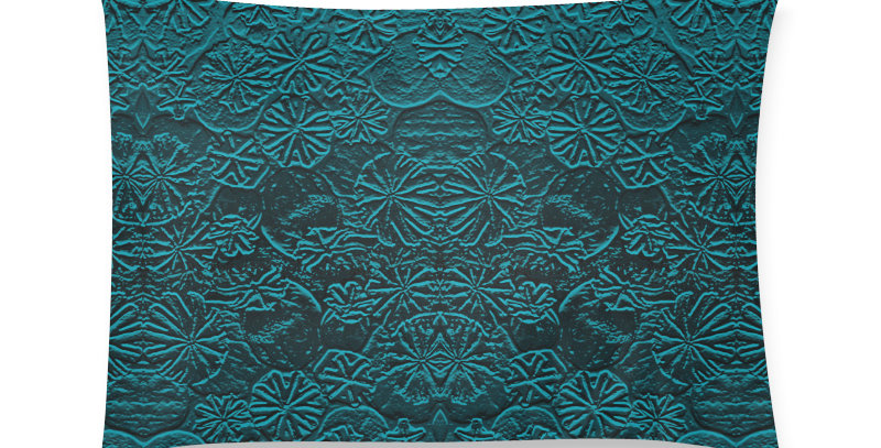 Embossed Poppies Teal - Cushion Cover