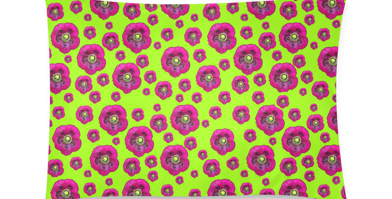 Flower Power lime green/purple - Cushion Cover