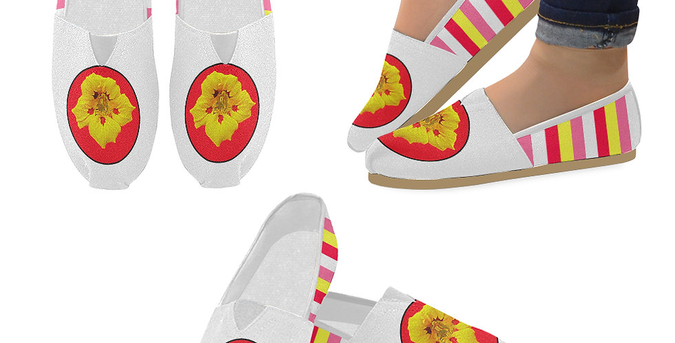 Ladybug Nasturtium with Coordinating Stripes - Slip On Canvas Shoes