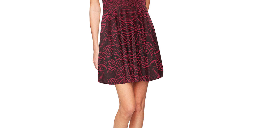 Embossed Poppies Ruby Red - Skater Dress