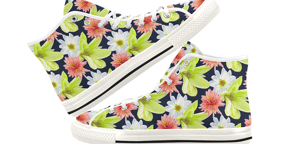 Magnolia Butterflies (small print) -  Women's High Top Canvas Sneakers