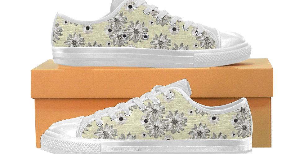 Floral Lemon - Women's Canvas Sneakers