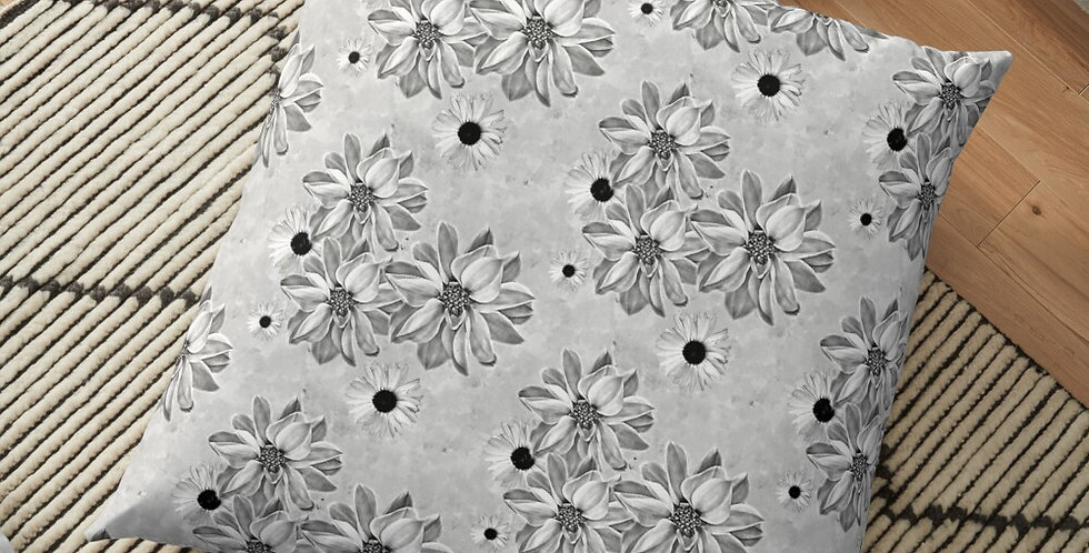 Floral - Grey - Cushion Cover