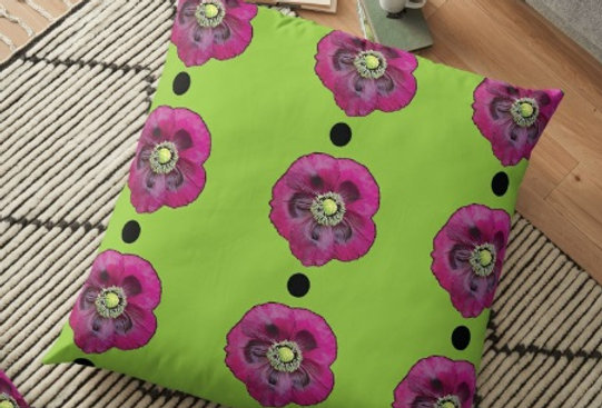 Purple Poppies with Black Dots Cushion Cover
